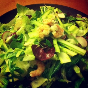 Shaved Asparagus and Shrimp salad