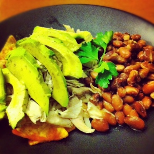 Pulled Chicken w/ Pinto beans and avocado